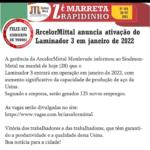 ArcelorMittal anuncia ativação do Laminador 3 em janeiro de 2022